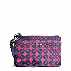 COACH WAVERLY SIGNATURE COATED CANVAS SMALL WRISTLET - SILVER/NAVY/PINK - F50480