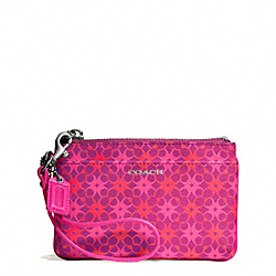 COACH WAVERLY SIGNATURE COATED CANVAS SMALL WRISTLET - SILVER/MAGENTA - F50480