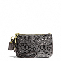 COACH POPPY  SEQUIN SIGNATURE C SMALL WRISTLET - BRASS/GRAY - F50481