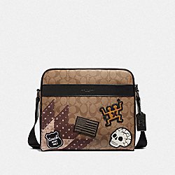 KEITH HARING CHARLES CAMERA BAG IN SIGNATURE CANVAS WITH PATCHES - TAN/BLACK ANTIQUE NICKEL - COACH F50485