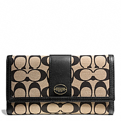 COACH PRINTED SIGNATURE CHECKBOOK WALLET - BRASS/KHAKI BLACK/BLACK - F50488