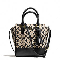 COACH PRINTED SIGNATURE MINI TANNER CROSSBODY - BRASS/KHAKI BLACK/BLACK - F50495