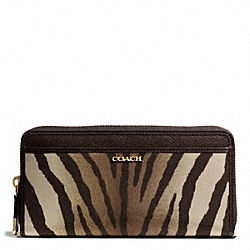 COACH MADISON ZEBRA PRINT FABRIC ACCORDION ZIP WALLET - ONE COLOR - F50499