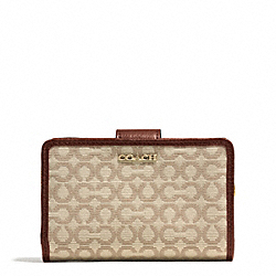 COACH MADISON NEEDLEPOINT OP ART MEDIUM L-ZIP MEDIUM WALLET - LIGHT GOLD/KHAKI/CHESTNUT - F50519