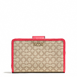 COACH MADISON NEEDLEPOINT OP ART MEDIUM L-ZIP MEDIUM WALLET - LIGHT GOLD/KHAKI/LOVE RED - F50519