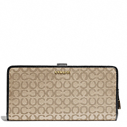 COACH MADISON NEEDLEPOINT OP ART FABRIC SKINNY WALLET - LIGHT GOLD/KHAKI/BLACK - F50520