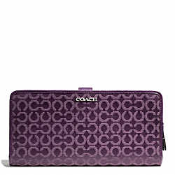 COACH MADISON NEEDLEPOINT OP ART FABRIC SKINNY WALLET - SILVER/BLACK VIOLET - F50520