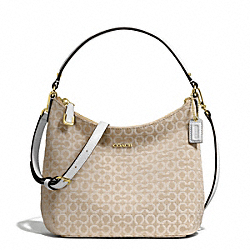 COACH MADISON NEEDLEPOINT OP ART FABRIC TOP HANDLE POUCH - LIGHT GOLD/LIGHT GOLDGHT KHAKI/WHITE - F50521