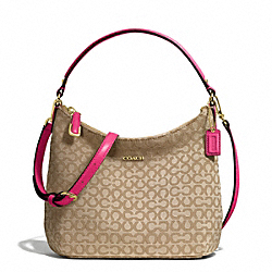 COACH MADISON NEEDLEPOINT OP ART FABRIC TOP HANDLE POUCH - LIGHT GOLD/KHAKI/PINK RUBY - F50521