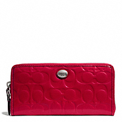 COACH PEYTON SIGNATURE C EMBOSSED PATENT ACCORDION ZIP WALLET - SILVER/RED - F50538