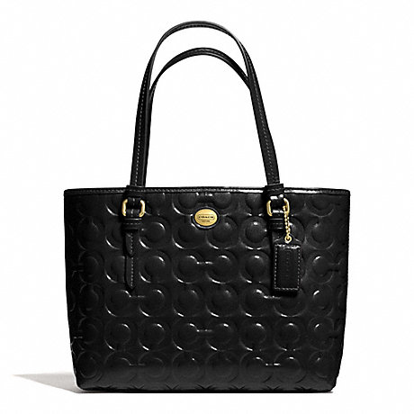 COACH f50540 PEYTON OP ART EMBOSSED PATENT TOP HANDLE TOTE BRASS/BLACK