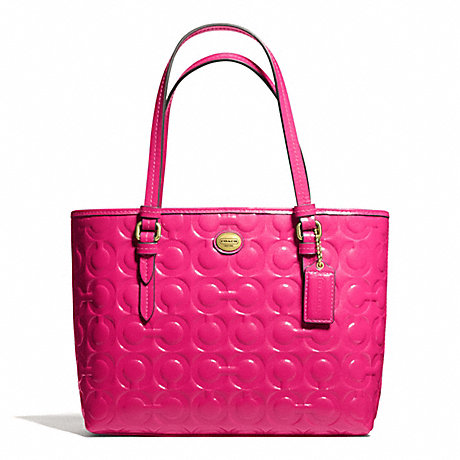 COACH PEYTON OP ART EMBOSSED PATENT TOP HANDLE TOTE - BRASS/POMEGRANATE - f50540