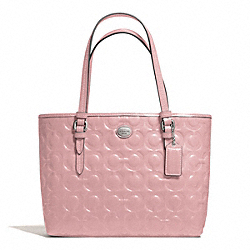 COACH PEYTON OP ART EMBOSSED PATENT TOP HANDLE TOTE - SILVER/PINK TULLE - F50540