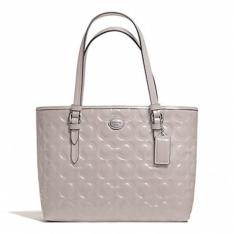 COACH PEYTON OP ART EMBOSSED PATENT TOP HANDLE TOTE - SILVER/PUTTY - f50540