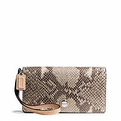 SIGNATURE STRIPE EMBOSSED EXOTIC DEMI CLUTCH COACH F50544