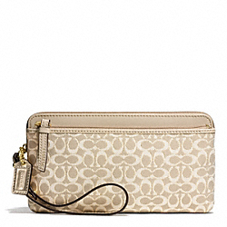 COACH POPPY METALLIC SIGNATURE DOUBLE ZIP WALLET - BRASS/KHAKI/KHAKI - F50548