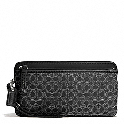 COACH POPPY METALLIC SIGNATURE DOUBLE ZIP WALLET - SILVER/BLACK/BLACK - F50548