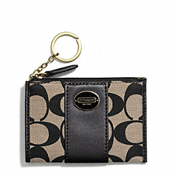 COACH PRINTED SIGNATURE FABRIC MINI SKINNY - BRASS/KHAKI BLACK/BLACK - F50557