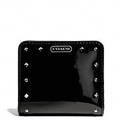 STUDDED LIQUID GLOSS SMALL WALLET - SILVER/BLACK - COACH F50574