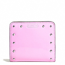 STUDDED LIQUID GLOSS SMALL WALLET - SILVER/PALE PINK - COACH F50574