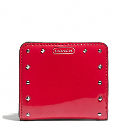 COACH STUDDED LIQUID GLOSS SMALL WALLET - SILVER/RED - F50574