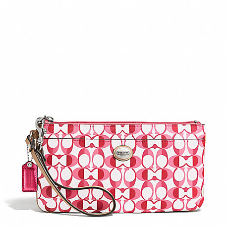 COACH PEYTON GO-GO WRISTLET IN DREAM C COATED CANVAS - SILVER/WHITE POMEGRANATE/TAN - f50590