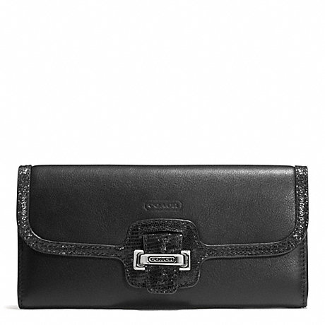 COACH TAYLOR LEATHER SLIM ENVELOPE - SILVER/BLACK - f50612