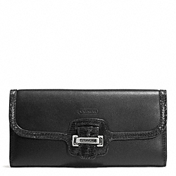 TAYLOR LEATHER SLIM ENVELOPE - f50612 - SILVER/BLACK