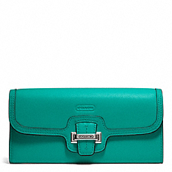 COACH TAYLOR LEATHER SLIM ENVELOPE WALLET - SILVER/EMERALD - F50612