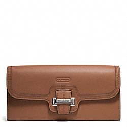 COACH TAYLOR LEATHER SLIM ENVELOPE - SILVER/SADDLE - F50612