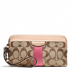 SIGNATURE STRIPE 12CM DOUBLE ZIP WALLET COACH F50613