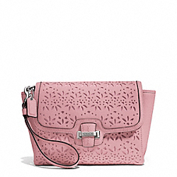 COACH TAYLOR EYELET LEATHER FLAP CLUTCH - SILVER/PINK TULLE - F50632