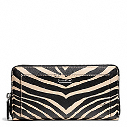 COACH ZEBRA PRINT ACCORDION ZIP WALLET - ONE COLOR - F50638