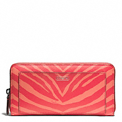 COACH ZEBRA PRINT ACCORDION ZIP WALLET - SILVER/HOT ORANGE - F50638