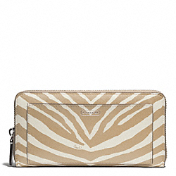 COACH ZEBRA PRINT ACCORDION ZIP WALLET - SILVER/LIGHT KHAKI - F50638