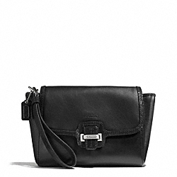 TAYLOR LEATHER FLAP CLUTCH - f50656 - SILVER/BLACK