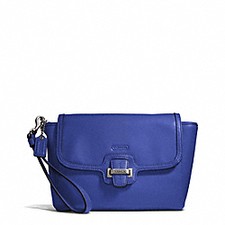 COACH TAYLOR LEATHER FLAP CLUTCH - SILVER/COBALT - F50656