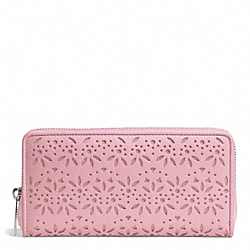 COACH TAYLOR EYELET LEATHER ACCORDION ZIP - SILVER/PINK TULLE - F50673