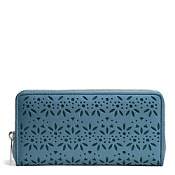 COACH TAYLOR EYELET LEATHER ACCORDION ZIP WALLET - SILVER/DENIM - F50673