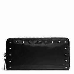 COACH STUDDED LIQUID GLOSS ACCORDION ZIP WALLET - SILVER/BLACK - F50681