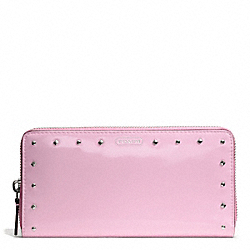 COACH STUDDED LIQUID GLOSS ACCORDION ZIP WALLET - SILVER/PALE PINK - F50681