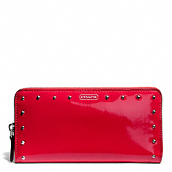 COACH STUDDED LIQUID GLOSS ACCORDION ZIP WALLET - SILVER/RED - F50681