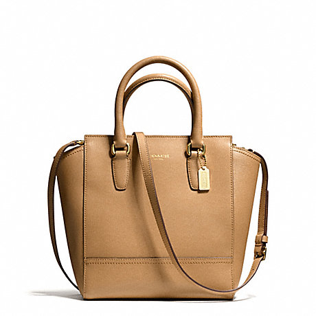 COACH SAFFIANO LEATHER MINI TANNER - BRASS/TOFFEE - f50707