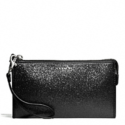 COACH GLITTER ZIPPY WALLET - SILVER/BLACK - F50711
