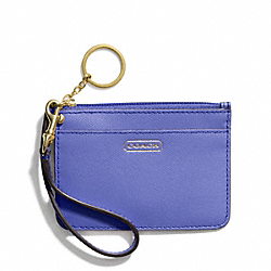COACH DARCY LEATHER ID SKINNY - BRASS/PORCELAIN BLUE - F50735