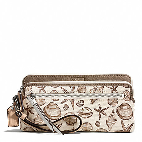 COACH f50739 RESORT SHELL PRINT DOUBLE ZIP WALLET