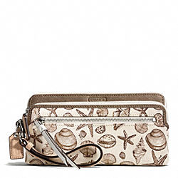 COACH RESORT SHELL PRINT DOUBLE ZIP WALLET - ONE COLOR - F50739