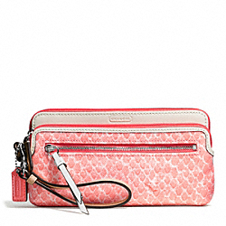 RESORT SNAKE PRINT DOUBLE ZIP WALLET COACH F50741