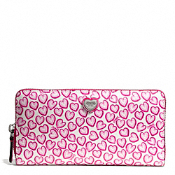 HEART PRINT ACCORDION ZIP WALLET COACH F50775