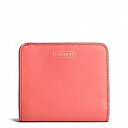 COACH DARCY LEATHER SMALL WALLET - BRASS/CORAL - F50780